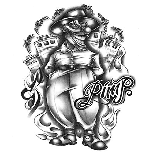 Urban Realistic Waterproof Big Temporary Tattoo Black & White Pimp Clown Body Lower & Upper Back Temporary Tattoos Sticker For Womens Mens - Made in -