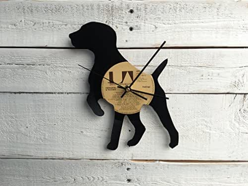 Puppy Clock | Vinyl Record • Dog Breed • Silhouette • Upcycled Recycled Repurposed • Dog Breed • Silhouette • Shadow Art Custom Gift for Her • Retro Vintage Home Decor