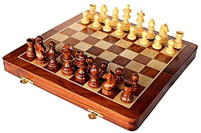 "Magnetic Wooden Chess 12""X12"" with extra queen handmade by Indian artisans - perfect father's day gift"
