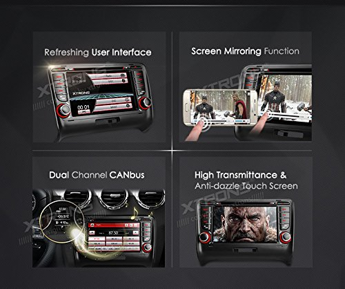 XTRONS 7 Inch HD Digital Touch Screen Car Stereo In-Dash DVD Player with GPS Navigation Dual Channel CANbus Screen Mirroring Function for Audi TT MK2 Kudos Map Card Included by XTRONS (Image #1)