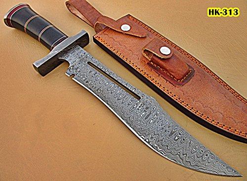 - Poshland REG-HK-313, Custom Handmade 15.4 Inches Damascus Steel Bowie Knife - Beautiful Black G-10 Micarta Handle with Damascus Steel Guard