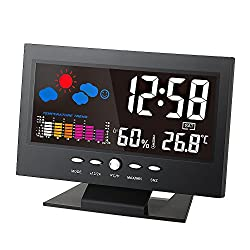 KKmoon °C/°F Multifunctional Indoor Colorful LCD Digital Temperature Humidity Meter Clock Thermometer Hygrometer Comfort Level Weather Forecast Vioce-activated Backlight