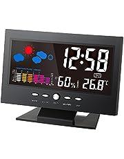 ° C / ° F Multifuncional interior colorido LCD Temperatura Digital medidor de umidade Estação Meteorológica Relógio Termômetro higrômetro Calendário Temperatura Tendência Alarme Nível de conforto