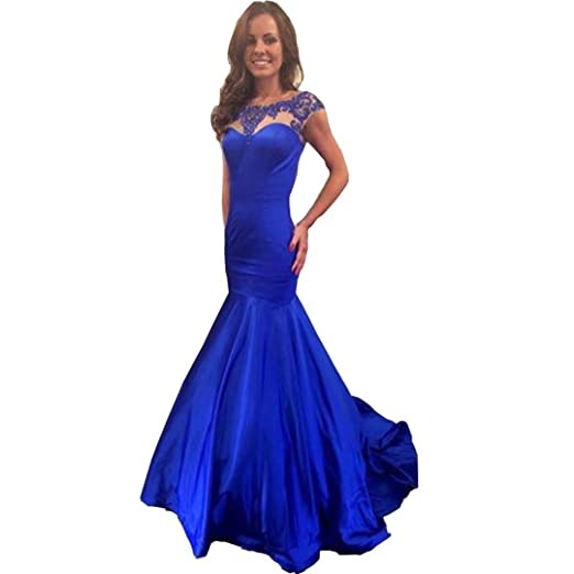 Chady Short Sleeve Royal Blue Mermaid Dresses 2017 Satin Prom Dress