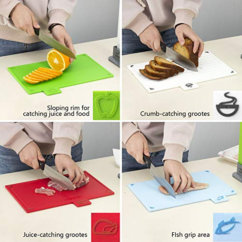 Cutting Board Set, Non-slip Chopping Board with Stand, BPA Free, FDA Approved Reversible Chef Cutting Boards, Color Coded Chopping Board Set, Easy-access Draining Rack for Kitchen by LinLins (Image #4)