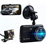 Dual dash cam,ssontong Car Front and Rear Dual Channel dashboard Camera 4.0 Screen,170 Degree Wide Angle,Full HD 1080P Vehicle On-dash Video Recorder Camcorder Built In Night Vision,WDR.