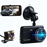 Dual dash cam,ssontong Car Front and Rear Dual Channel dashboard Camera 4.0' Screen,170 Degree Wide Angle,Full HD 1080P Vehicle On-dash Video Recorder Camcorder Built In Night Vision,WDR.