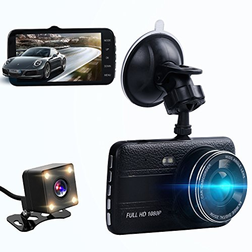 Dual dash cam,ssontong Car Front and Rear Dual Channel dashboard Camera 4.0″ Screen,170 Degree Wide Angle,Full HD 1080P Vehicle On-dash Video Recorder Camcorder Built In Night Vision,WDR.
