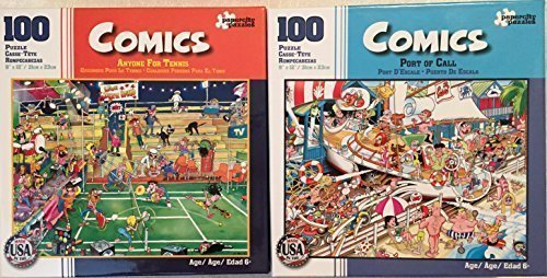 Bundle of 2 Comics 100 Piece Jigsaw Puzzles by Papercity Puzzles: Anyone for Tennis ~ Port of Call by Comics Puzzles