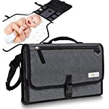 Gokidi Portable Baby Changing Pad – Diaper Bag Clutch Unfolds to Diaper Change Station - Detachable Waterproof Mat - Wipes Clean, Non-Slip Straps, Pockets for Wipes and Accessories – Grey