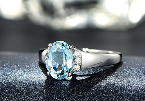 Solid 18k white gold promise ring,0.09ct SI-H Diamond Engagement ring,6x8mm oval 1.35ct Natural oval VVS blue Aquamarine,pave set