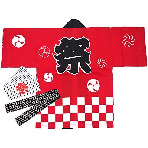 [어린이 해피]  일본전통복 (한텐) 합피 · 허리끈 · 머리띠 3 종 세트면 100 %