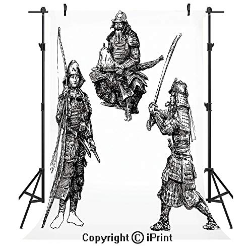 Japanese Photography Backdrops,Sketch of Three Samurais with Medieval Weapons Vintage Style Asian Historic Heros,Birthday Party Seamless Photo Studio Booth Background Banner 6x9ft,Black -