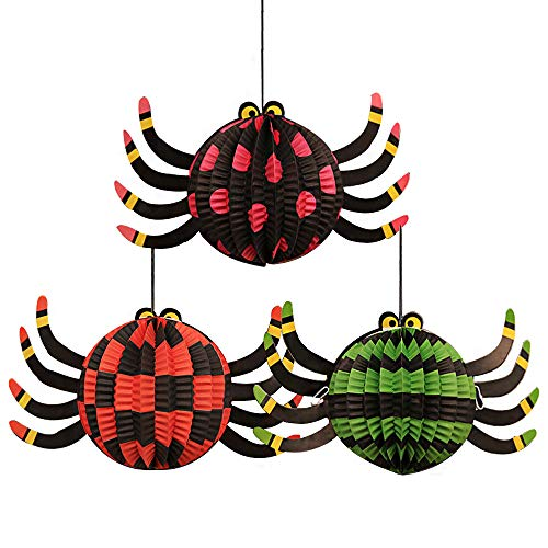 Halloween 3 Pack Paper Lanterns Hanging 3D Pumpkin Spider Ghost Bat Folding Paper Lantern for Halloween Props (Spider) -