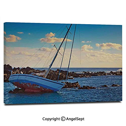 Canvas Prints Modern Art Framed Wall Mural Yacht in The Sea Surrounded by Ledge Rocks Coastal Incident Shroud Crash Scene Wall Decorations for Living Room Bedroom Dining Room Bathroom Office,Blue Br
