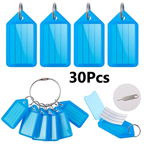 30PCS Plastic Key Tags with Split Ring Label Window with a Big Key Ring and an Open Cover Gadget