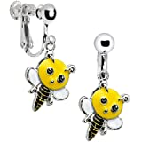 Handcrafted Buzzing Bumble Bee Clip Earrings