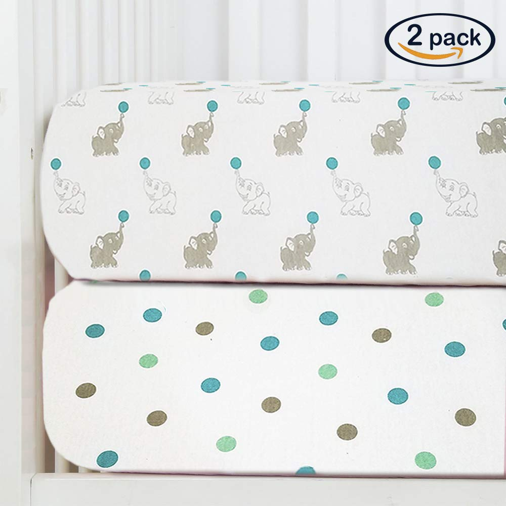 Baby Fitted Crib Sheets 2-Pack | Soft, Breathable & Comfortable 100% Jersey Cotton Bedding Set | 9