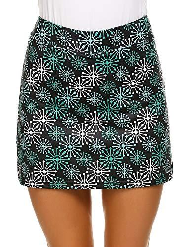 (Ekouaer Women Breathable Stretch Skirts Multicolor Summer Gym Tennis Golf Cycling Skorts Green)