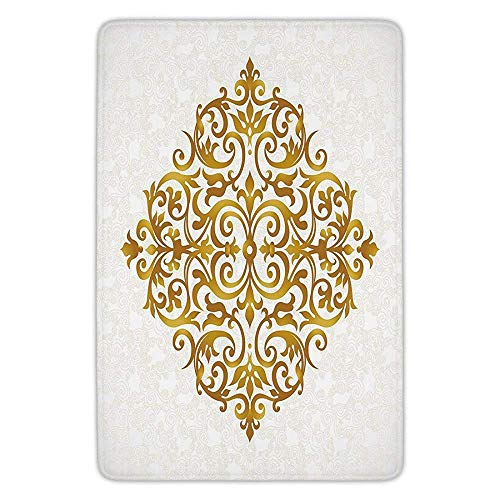 Bathroom Bath Rug Kitchen Floor Mat Carpet,Gold Mandala,Victorian Style Traditional Filigree Inspired Royal Oriental Classic Print Decorative,Gold White,Flannel Microfiber Non-slip Soft Absorbent