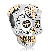 Skull Cross Charm Dia De Los Muertos Jewelry Sale Cheap Beads Fit Pandora Charms Bracelet Gifts