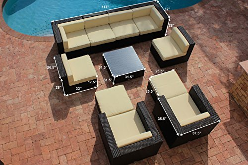 AKOYA Wicker Collection 11 Piece Outdoor Patio Furniture Modern Sofa Couch Sectional Modular Set (Beige)