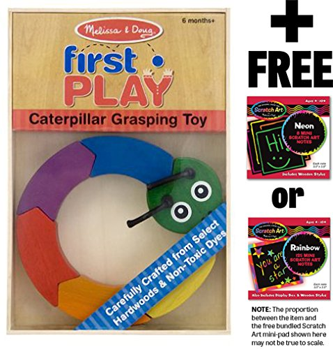 Melissa & Doug Caterpillar Grasping Toy: First Play Series & 1 Scratch Art Mini-Pad Bundle (03032)