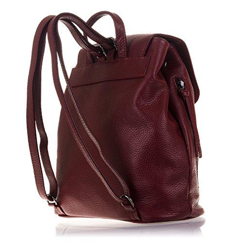 FIRENZE ARTEGIANI.Mochila de mujer casual piel auténtica.Mochila bolso mujer cuero genuino,dollaro. Daypack con asa y correa hombro. MADE IN ITALY. VERA PELLE ITALIANA. 21x25x6 cm. Color: GRIS ROJO
