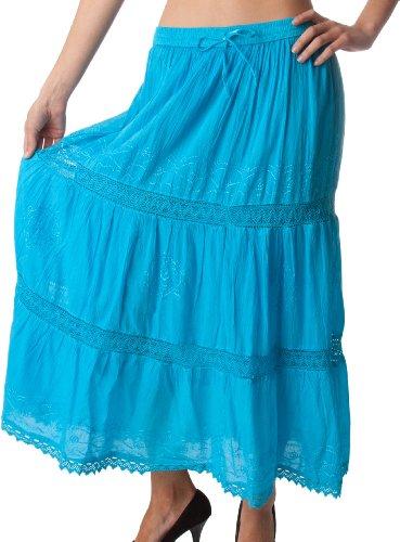 Bohmienne Coton Sakkas Gitane Taille Haute Longue Jupe Brode Maxi Solide Turquoise f6zwq17R