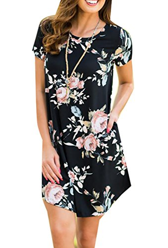 Shirt Short Casual Print Black Floral Womens Jaycargogo Dress Sleeve Relaxed fxp1A71qw