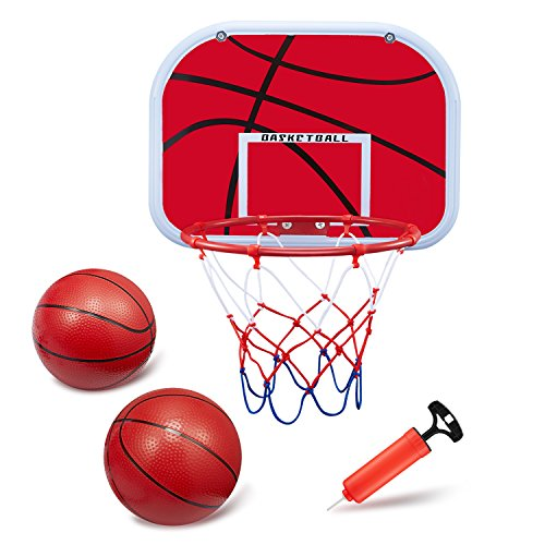 BESTTY Mini Basketball Hoop Set (13.4''x9.8'' Backboard) Backboard with Metal Rim and Hanging Basketball Board Toy with 2PCS Toy Basketballs and Air Pump