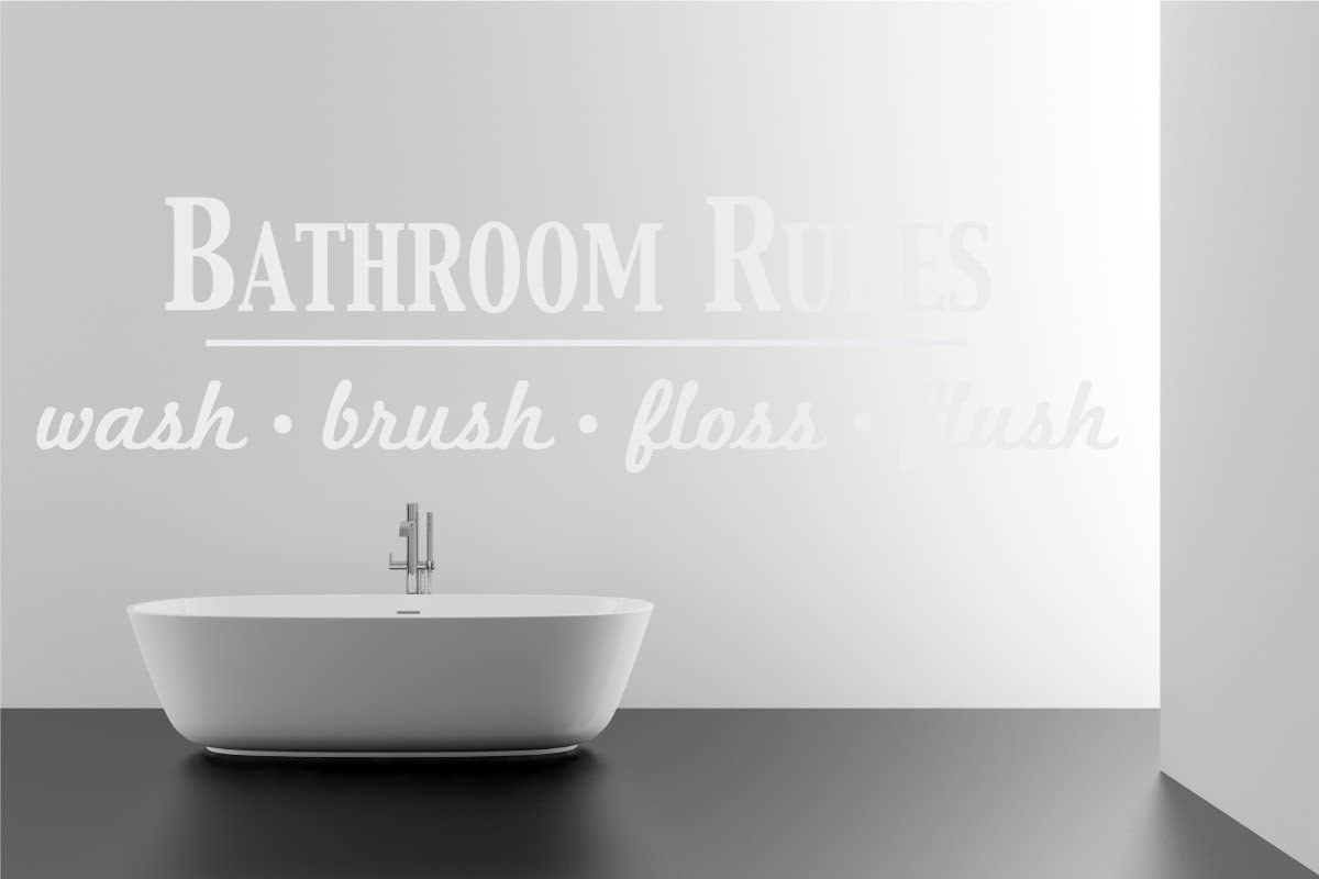 Bathroom Rules Wash Brush Floss Flush Quote Saying Wall Sticker Removable Home Decor Vinyl Decal Art (White, 9x36 inches)