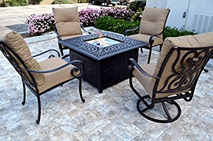 Conversation Set Patio Furniture Propane Fire Pit Table Outdoor Cast  Aluminum Santa Anita 5 Pc
