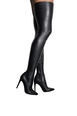 0d58e17d12e Amazon.com: AZALEA WANG Faux Leather Stretch Thigh High Pointed Toe ...