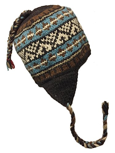 Nepal Hand Knit Sherpa Hat with Ear Flaps, Trapper Ski Heavy Wool Fleeced Lined Cap (Turquoise Brown)