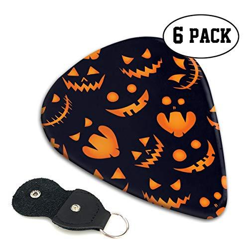 Halloween Pumpkin Background Guitar Picks 6 Pack Celluloid Plectrum Electric Acoustic Guitars Bass Best Gifts Kids -