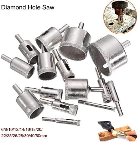 ST-ST 15Pcsダイヤモンドホールソードリルビットセット6〜50ミリメートルドリル100のグリッツタイルセラミックガラスマーブルドリルビットは、アクセサリーをドリル