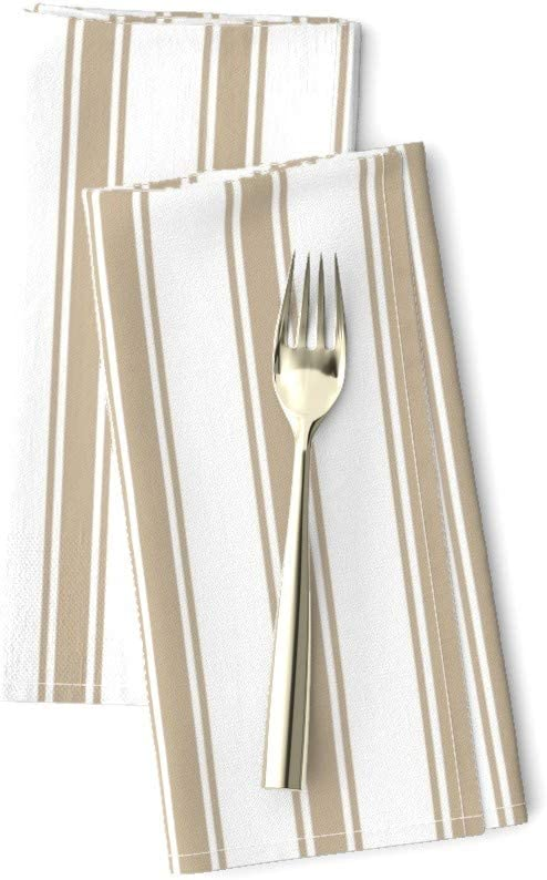 French Stripes Modern Farmhouse Red Cotton Dinner Napkins by Roostery Set of 2
