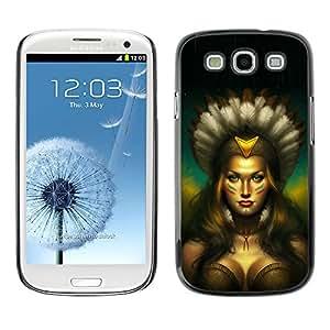 KOKO CASE / Samsung Galaxy S3 I9300 / Mujer india nativa amazónica sexy tetas / Delgado Negro Plástico caso cubierta Shell Armor Funda Case Cover