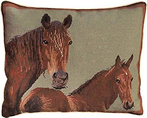 EuroLuxHome Throw Pillow Needlepoint Horses Horse 16x20 Soft Sage Green Wool Cotton V - Horse Needlepoint Pillow