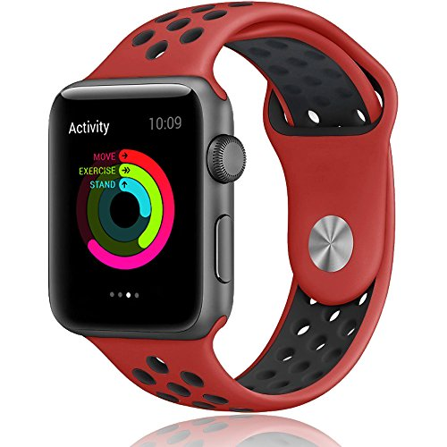 Apple Watch Band, LOHG 42mm Soft Silicone Bracelet iwatch Bands Sport Replacement Strap Wristband with Ventilation Holes for Apple Watch Nike+, Apple Watch Series 1/2 (( 42MM -- Black / (Watch Chrome Leather Band)