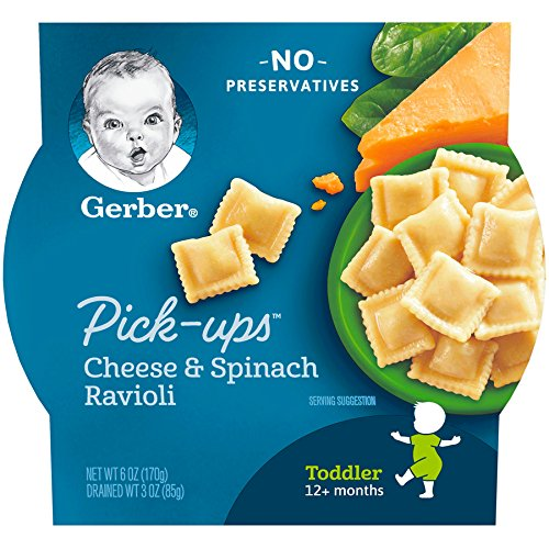 Gerber Graduates Pasta Pick-Ups Ravioli, Spinach and Cheese, 6 oz. Trays, 8 Count (Best Cheese For Baby)