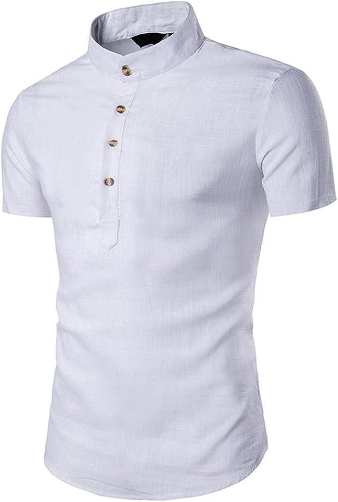 Camiseta para Hombre, RETUROM Hombre Stand Cuello Manga Corta ...