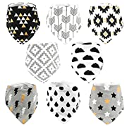 Stadela Baby Bandana Drool Bibs for Drooling and Teething 8 Pack Gift Set (Happy Forest)