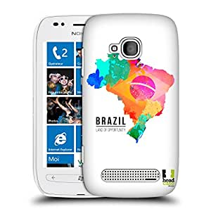 Head Case Designs Land of Opportunity Brazil Watercoloured Maps Hard Back Case Cover for Nokia Lumia 710