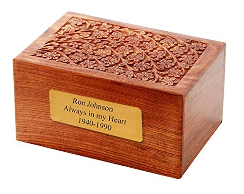 Solid Rosewood Tree of Life Engraving Handcarved Wood Urn with Custom Engraved 2x4 Brass Plate - Large, Cremation Urn, Wooden Urn