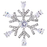 Image of EVER FAITH Silver-Tone Austrian Crystal Cubic Zirconia Winter Waterdrop Snowflake Flower Brooch Pin Clear