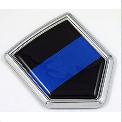 Amazon.com: Police Thin Blue Line Flag Chrome Emblem Car Decal Sticker Bike Crest Badge: Everything Else