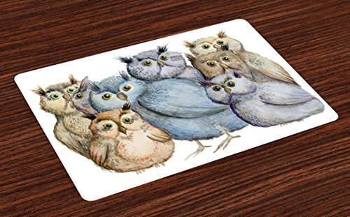 Ambesonne Owl Place Mats Set of 4, Watercolor Hand Drawn Cute Owl Family Portrait Artistic Vintage Bohemian Wildlife Birds, Washable Fabric Placemats for Dining Room Kitchen Table Decor, Multicolor