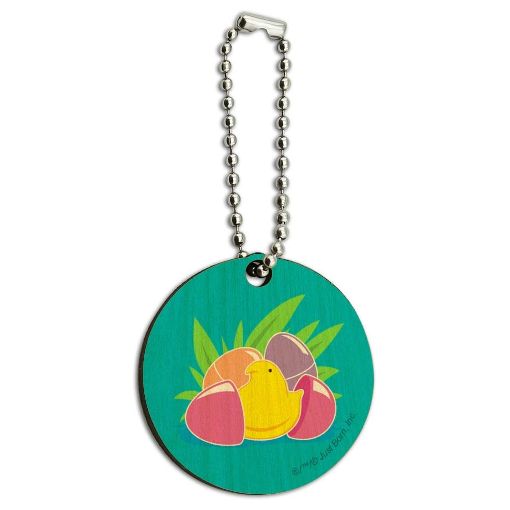 Peeps Hatching Out of Plastic Easter Egg Wood Wooden Round Keychain Key Chain Ring